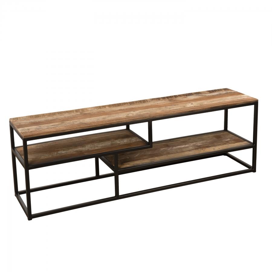 Meuble TV 3 niveaux bois teck recyclé acacia mahogany métal
