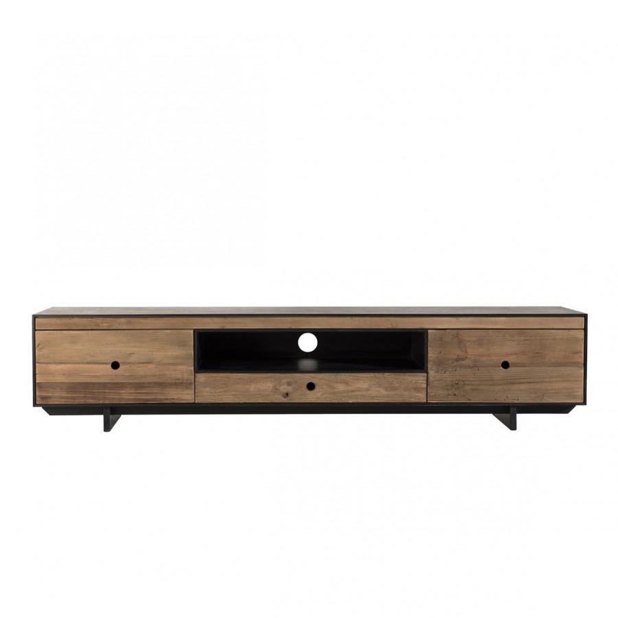 Meuble TV 3 tiroirs 1 niche bois pin recyclé