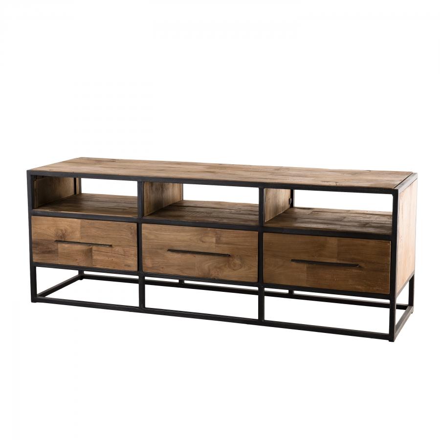 Meuble TV 3 niches 3 tiroirs bois teck recyclé et métal