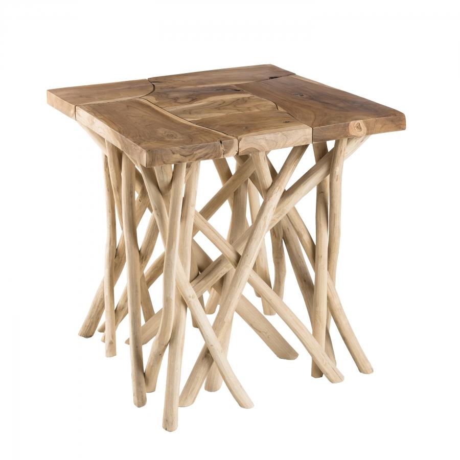 Table d'appoint nature plateau bois teck pieds bois flotté