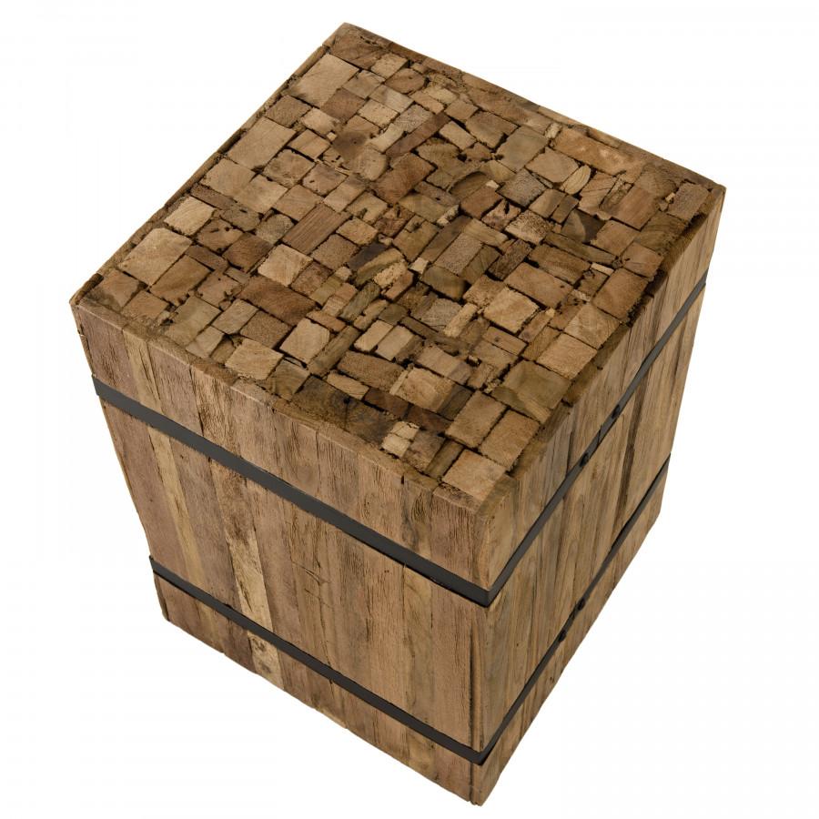 Table d'appoint carrée S bois teck recyclé cerclée métal
