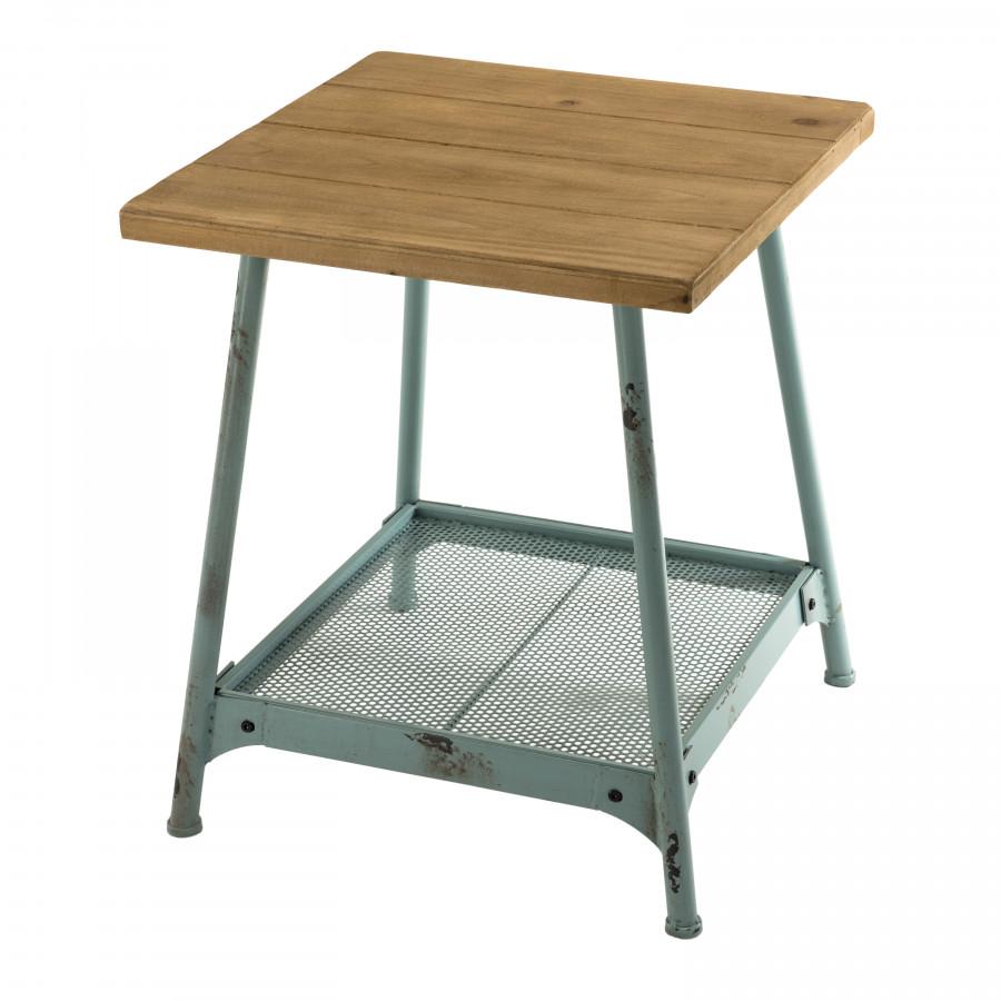 Table d'appoint scandi 1 étagère bois sapin pieds métal bleu