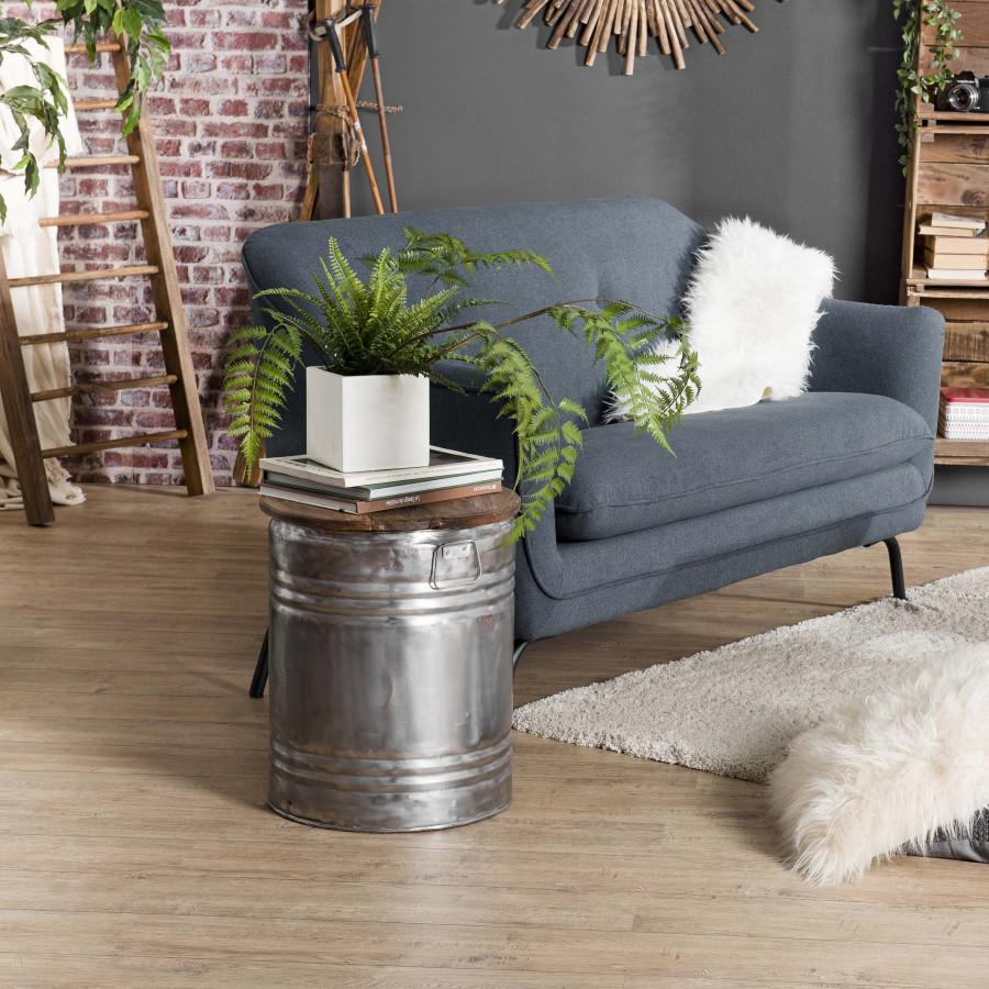 Table d'appoint ronde bidon esprit brocante acier bois recyclé