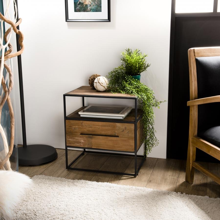 Table d'appoint 1 tiroir 1 étagère bois teck recyclé et métal