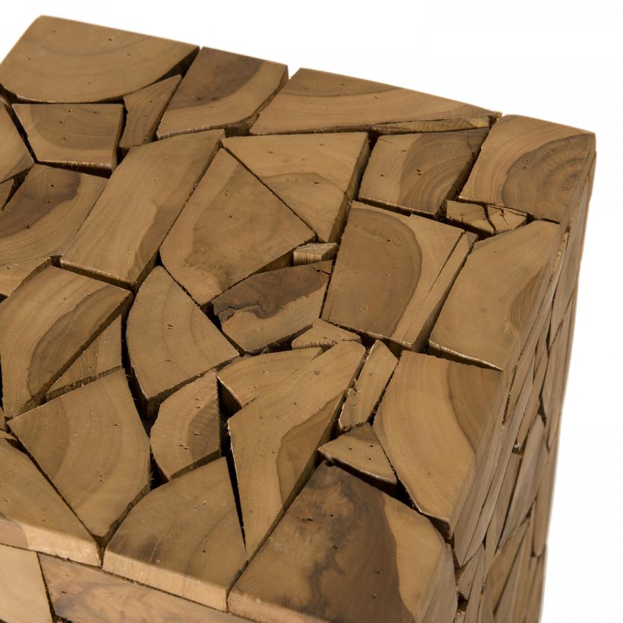 Table d'appoint carrée mozaïc bois teck