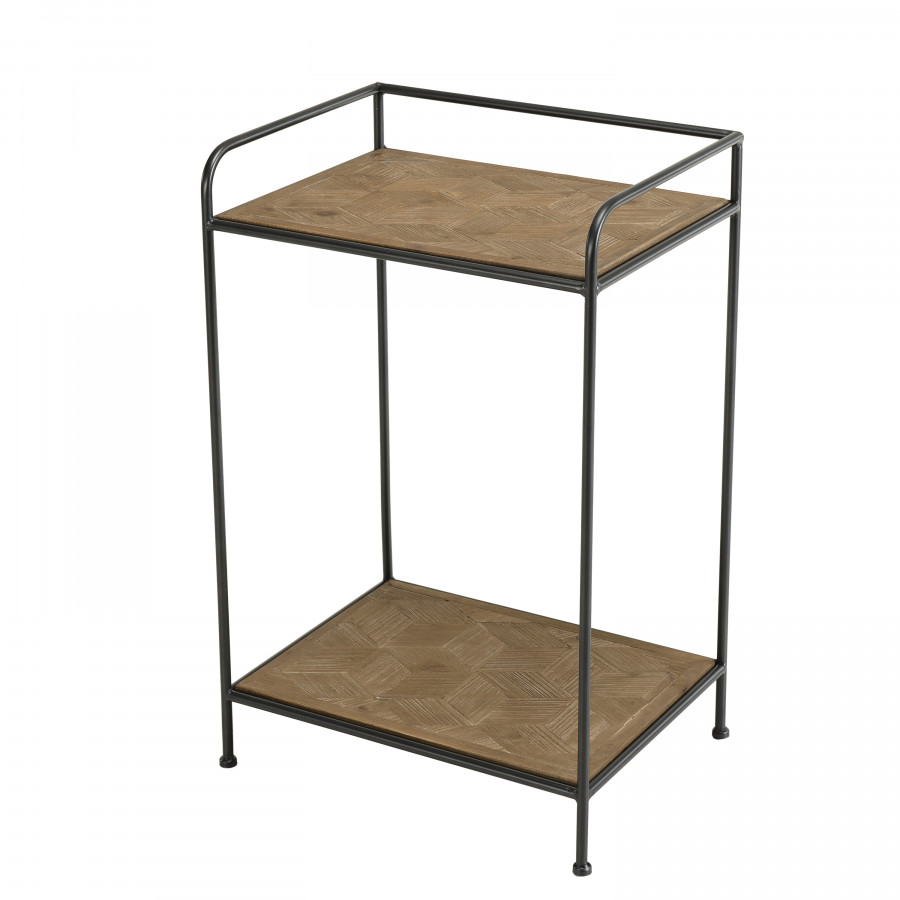 Table d'appoint bois sapin marqueté pieds métal