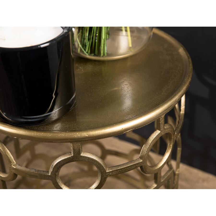 Table d'appoint ronde pietement graphique aluminium doré