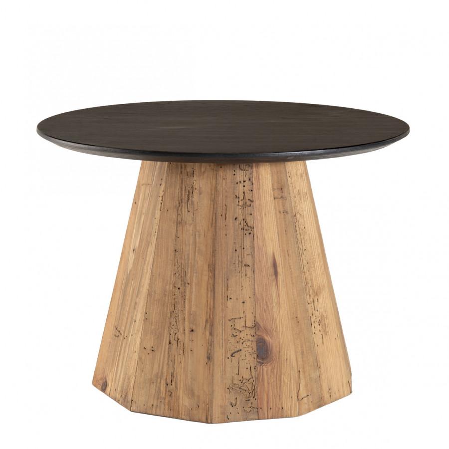 Table d'appoint ronde bois pin recyclé et contreplaqué