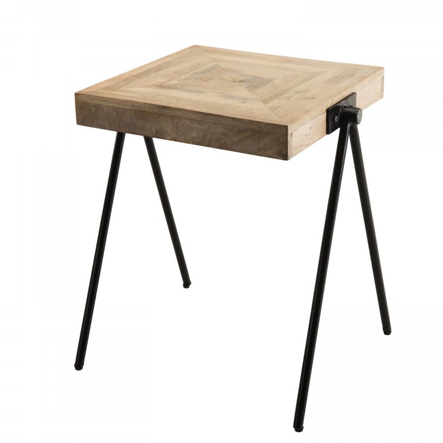 Table d'appoint carrée bois manguier pieds métal compas
