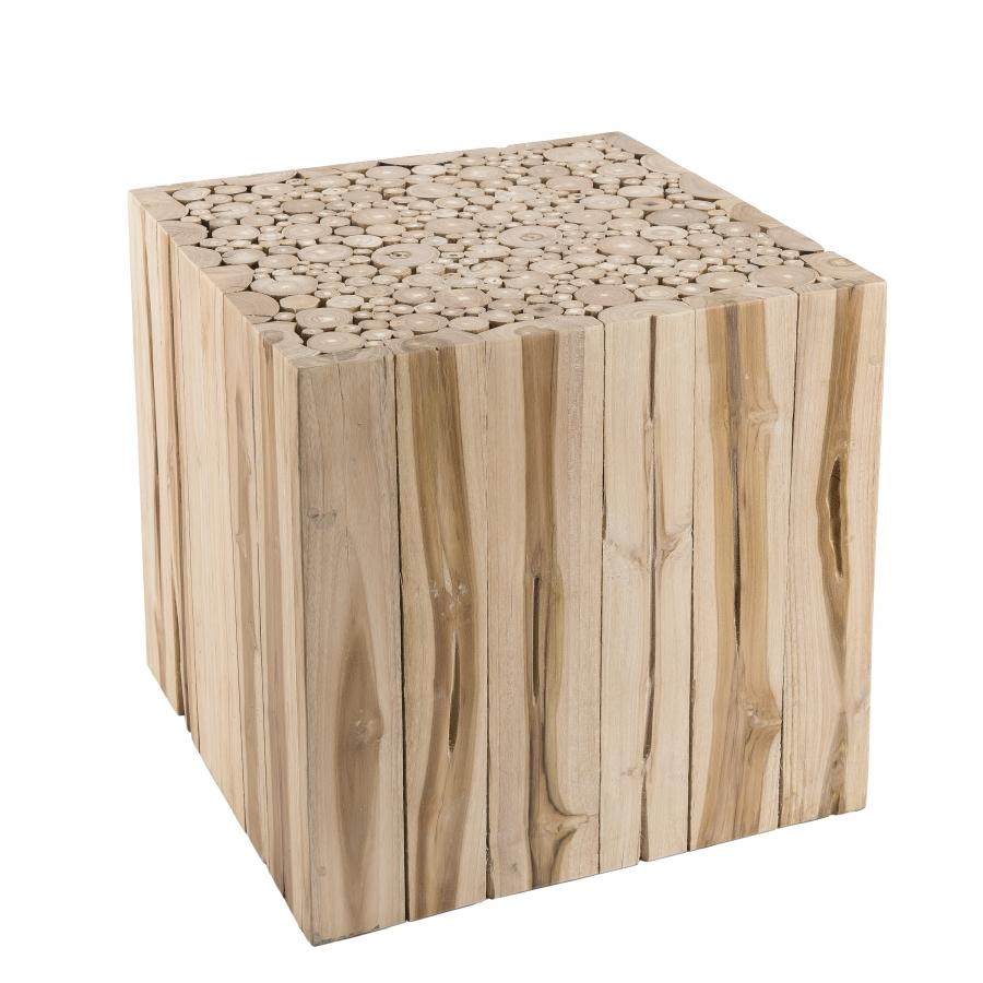 Bout de canapé carré nature branches bois teck