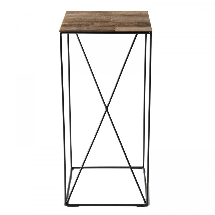 Table d'appoint modèle moyen bois teck recyclé et métal
