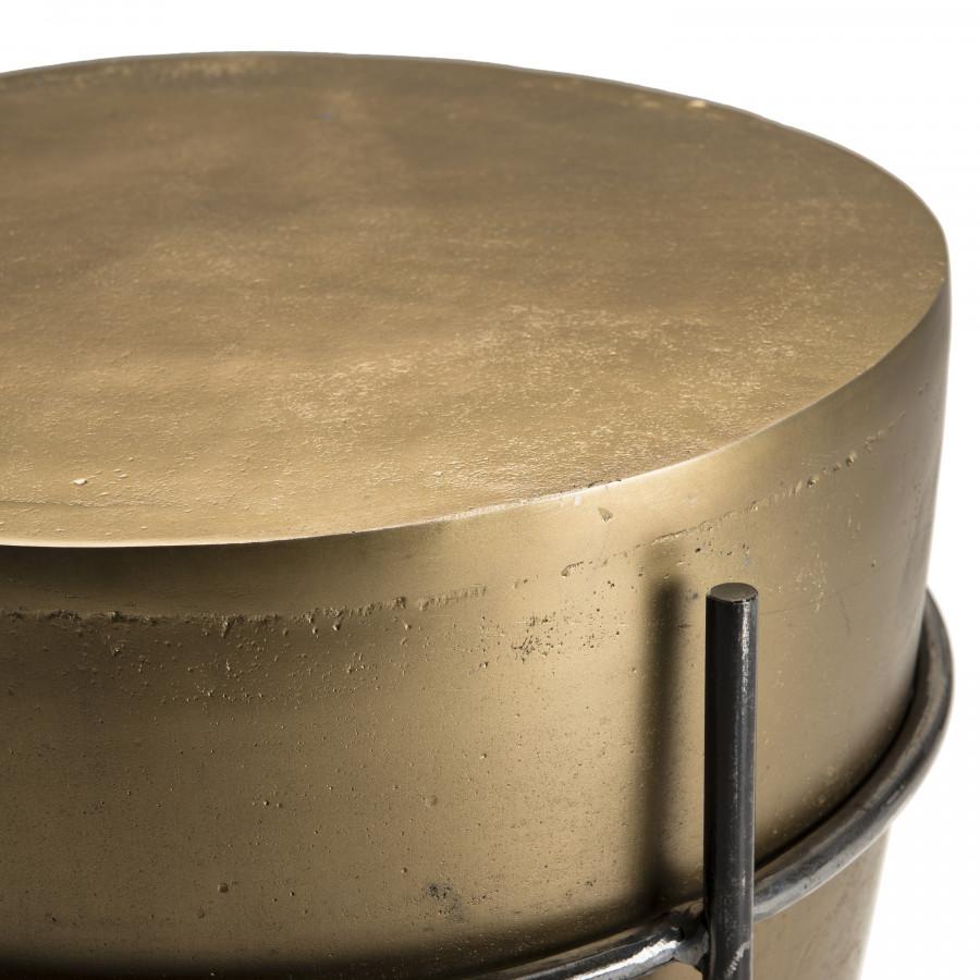 Table d'appoint ronde forme tambour aluminium doré