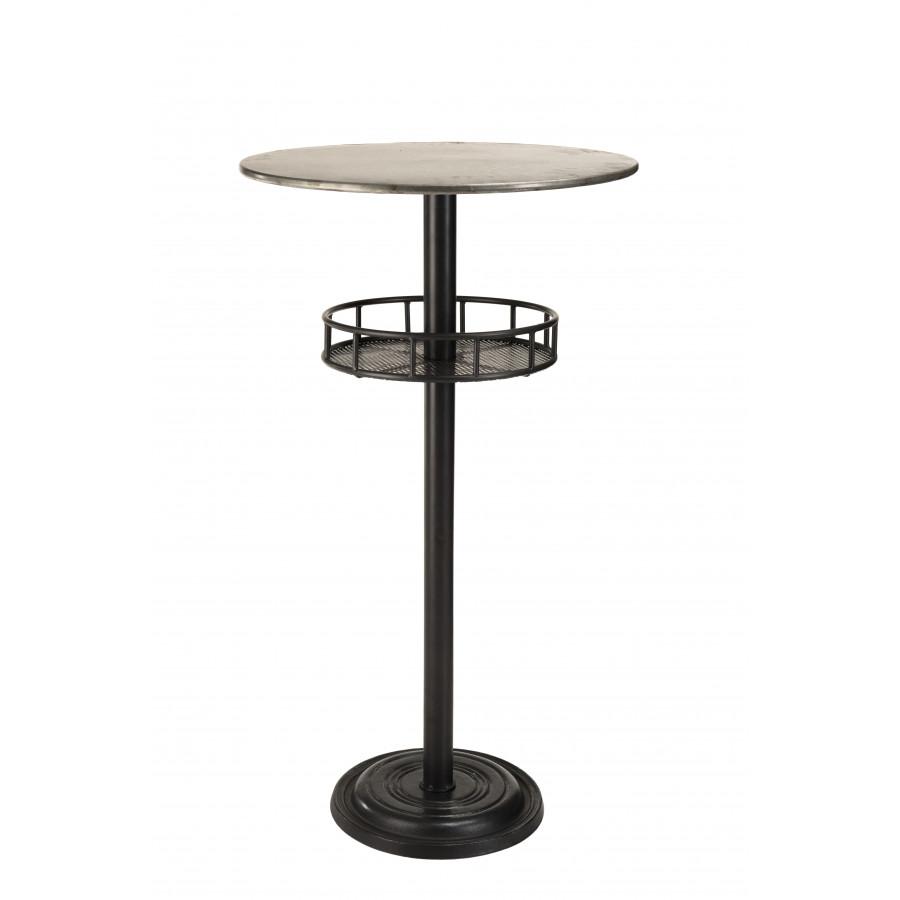 Table de bar ronde 1 étagère plateau zinc pieds métal