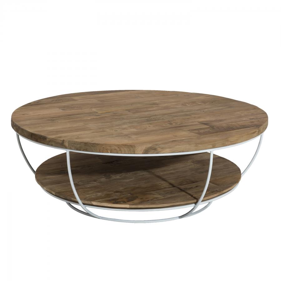 maison du monde Table basse coque 2 plateaux 100 bois teck recyclé métal blanc