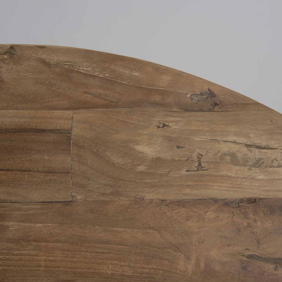 Table basse coque 2 plateaux 100 bois teck recyclé métal blanc