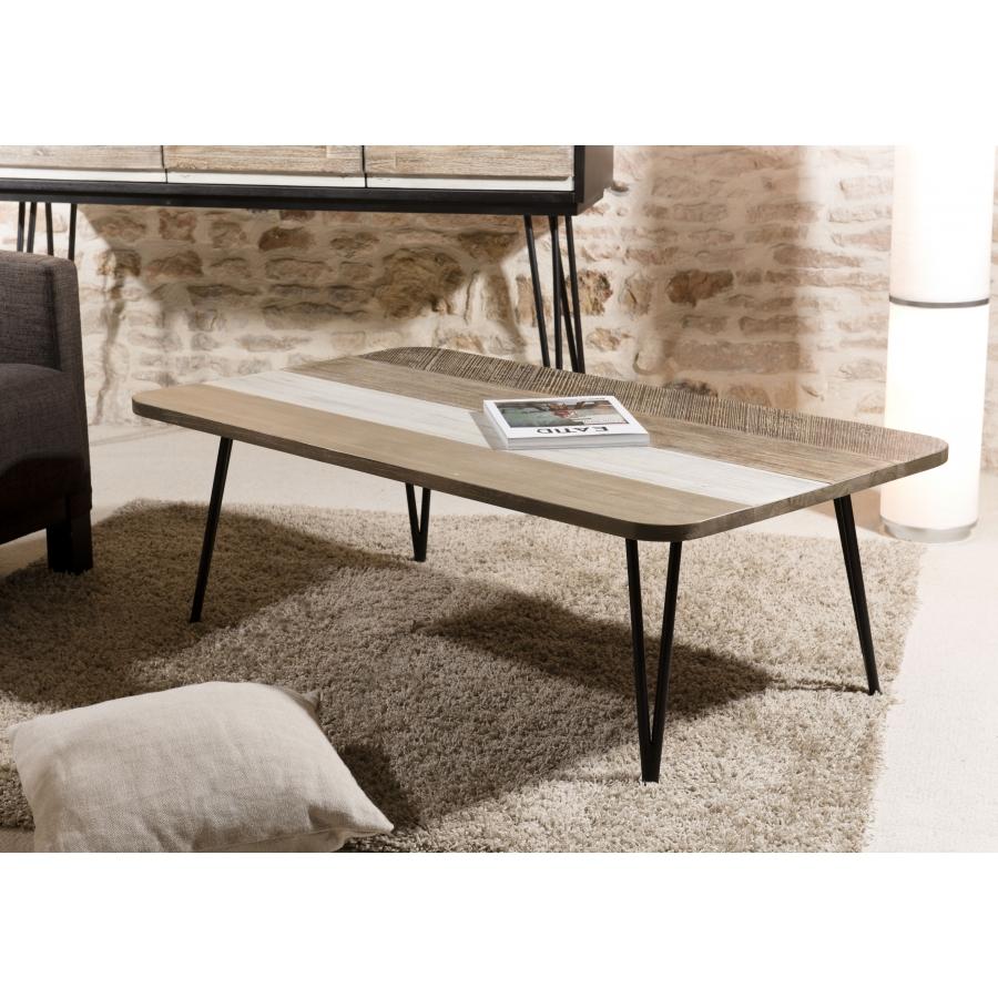Table basse rectangulaire bois et métal