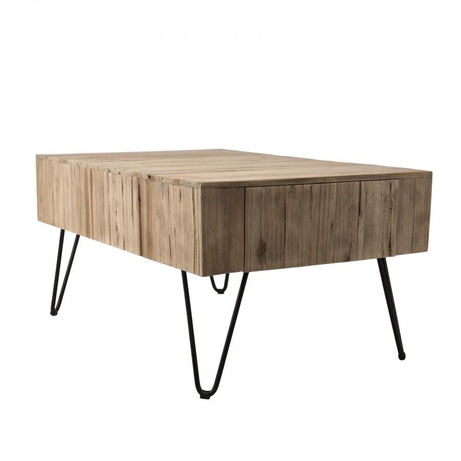 Table basse 2 tiroirs plateau bois teck pieds épingles métal