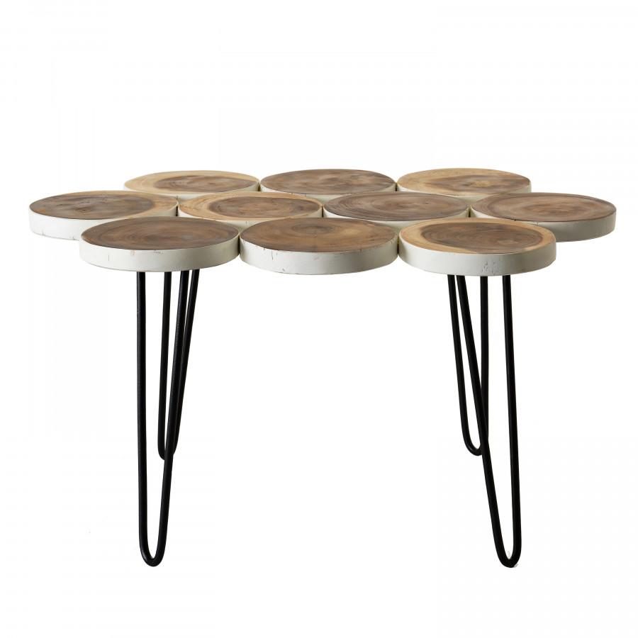 Table basse plateau rondelles bois Suar pieds épingles métal