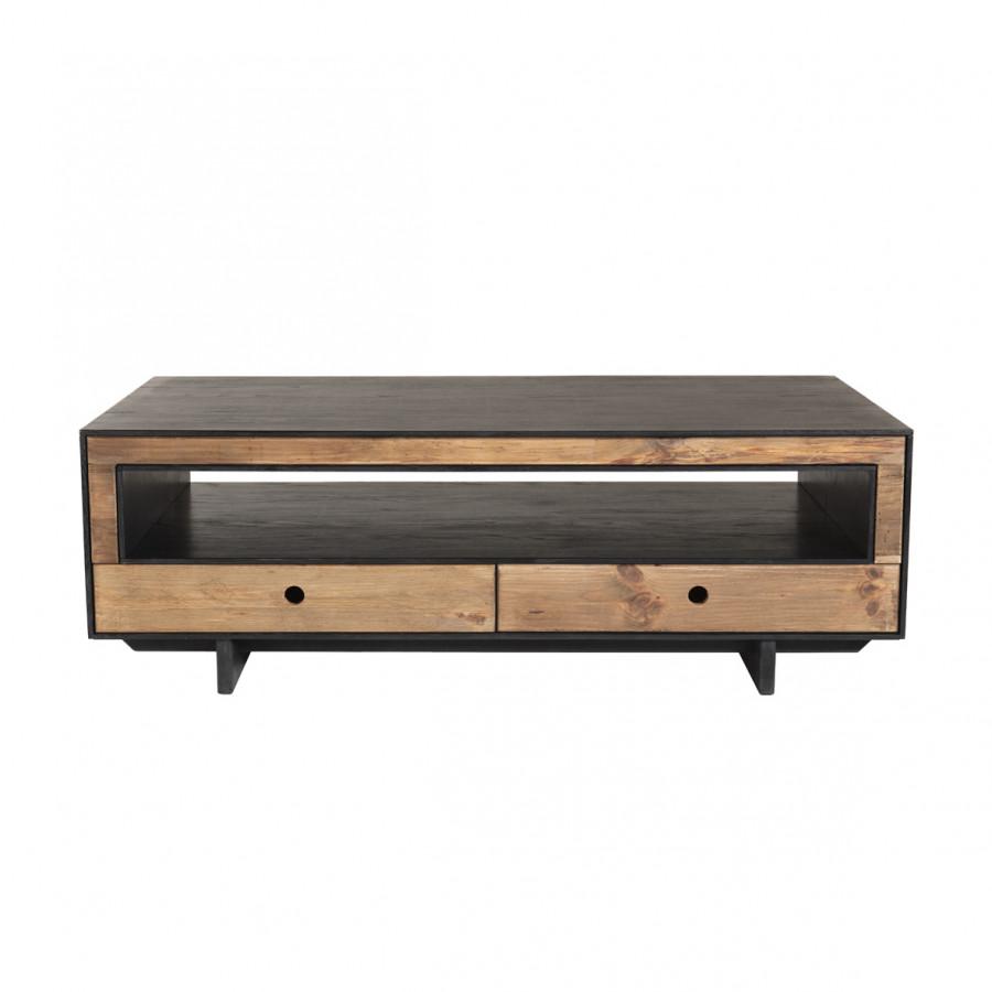 Table basse 4 tiroirs 1 niche bois pin recyclé