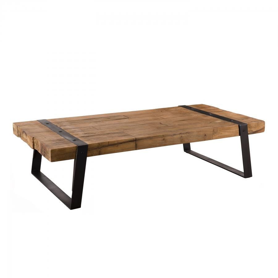 maison du monde Table basse rectangulaire bois teck recyclé et pieds métal
