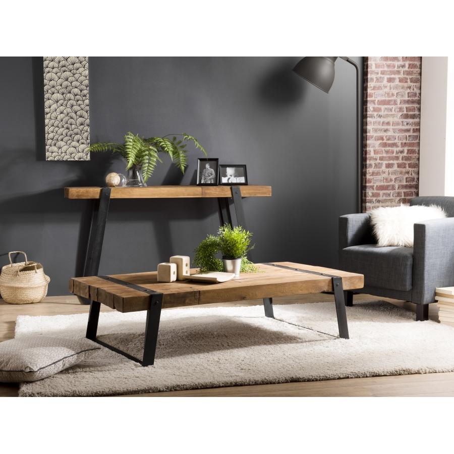 Table basse rectangulaire bois teck recyclé et pieds métal