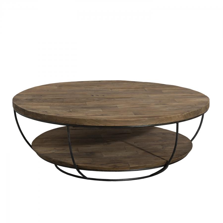 maison du monde Table basse coque 2 plateaux 100 bois teck recyclé métal noir