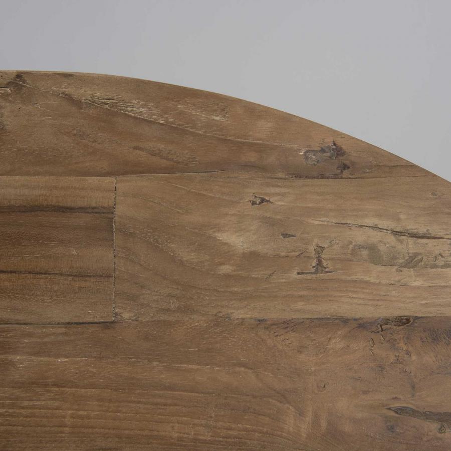 Table basse coque 2 plateaux 100 bois teck recyclé métal noir