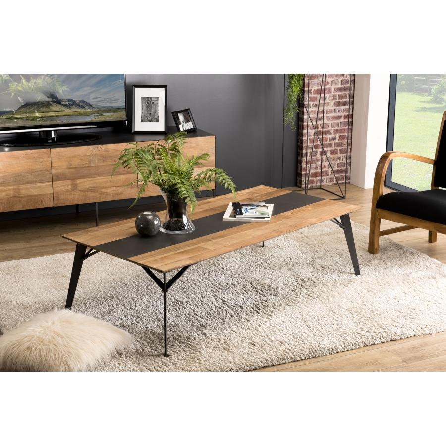 Table basse rectangulaire bois teck recyclé métal