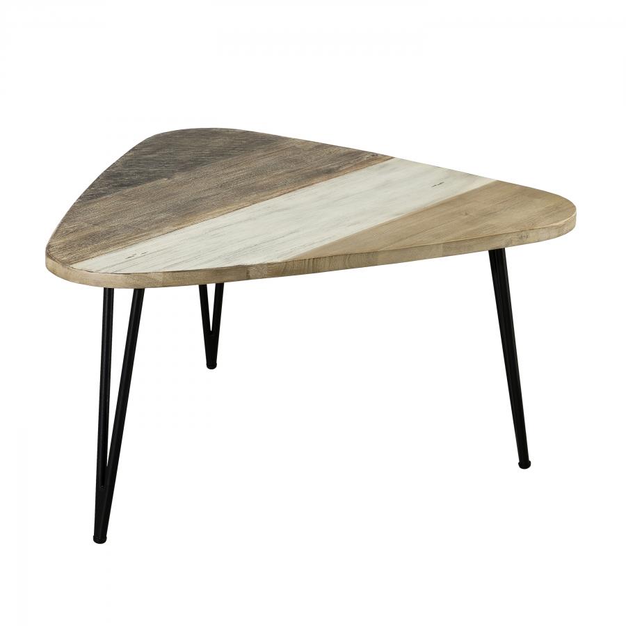 Table basse goutte d'eau bois et métal grand modèle