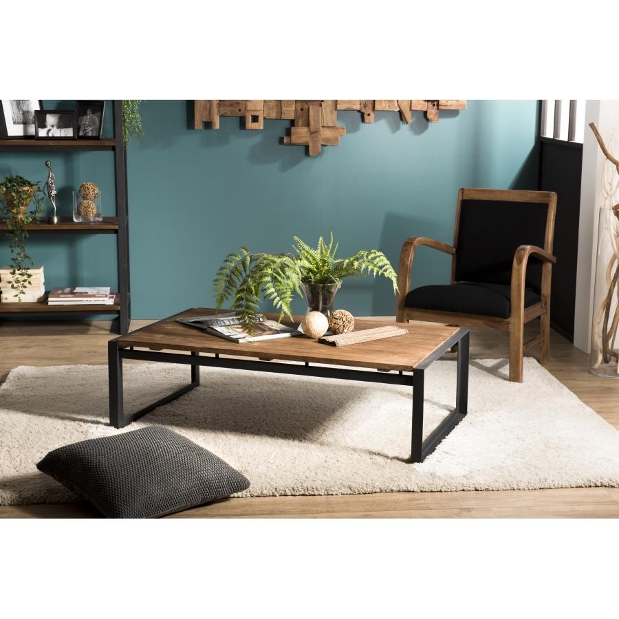 Table basse rectangulaire bois teck recyclé pieds métal