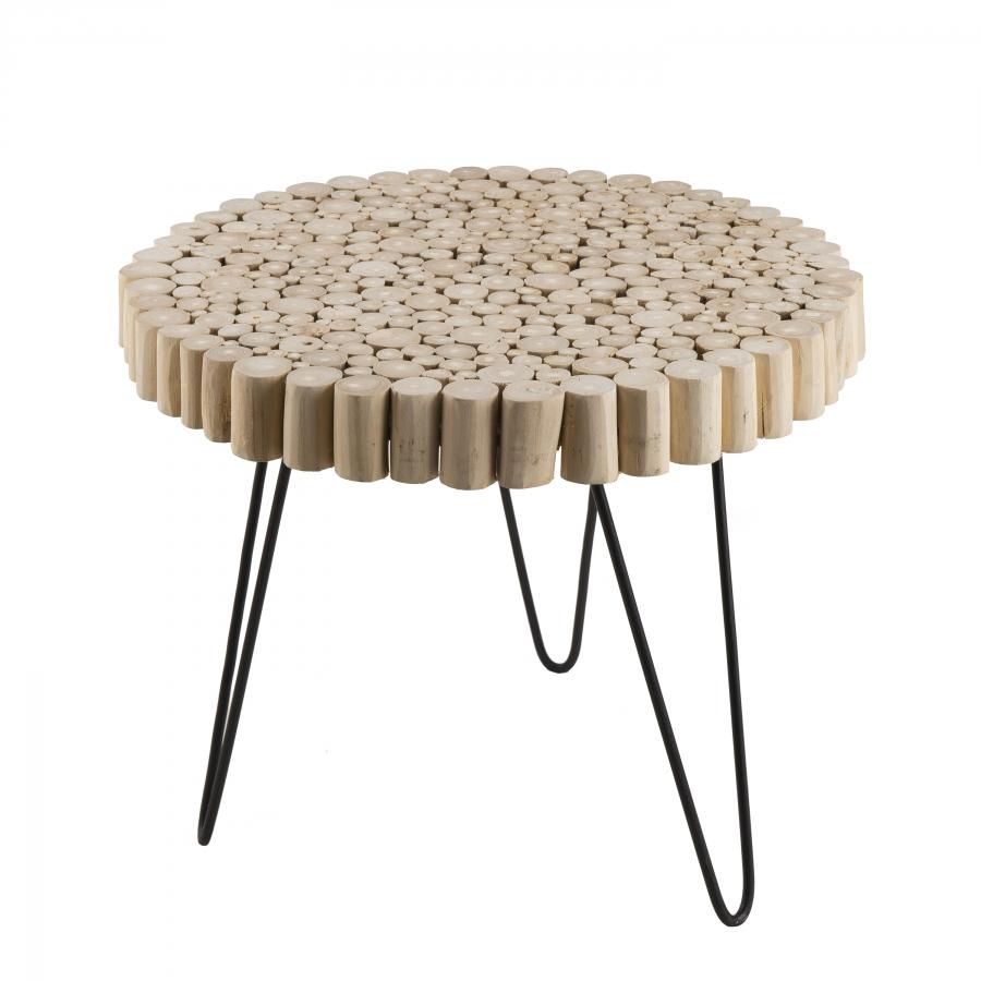 Table d'appoint ronde nature plateau bois pieds métal
