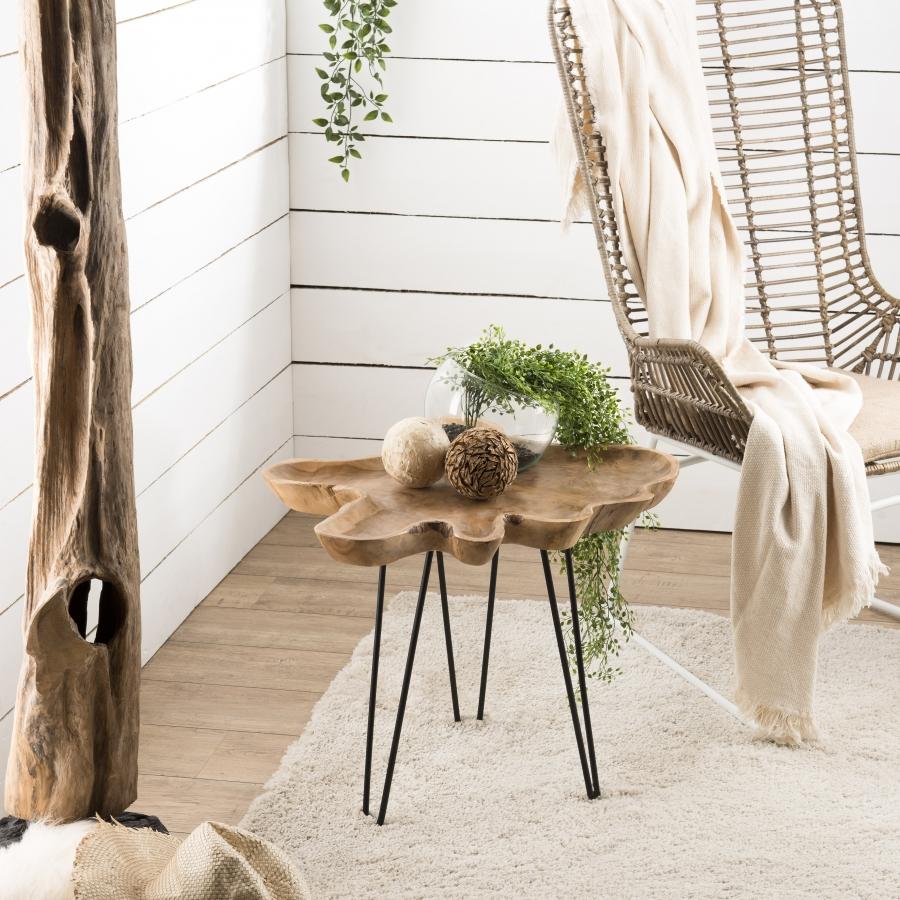 Table d'appoint forme naturelle bois teck pieds épingles métal