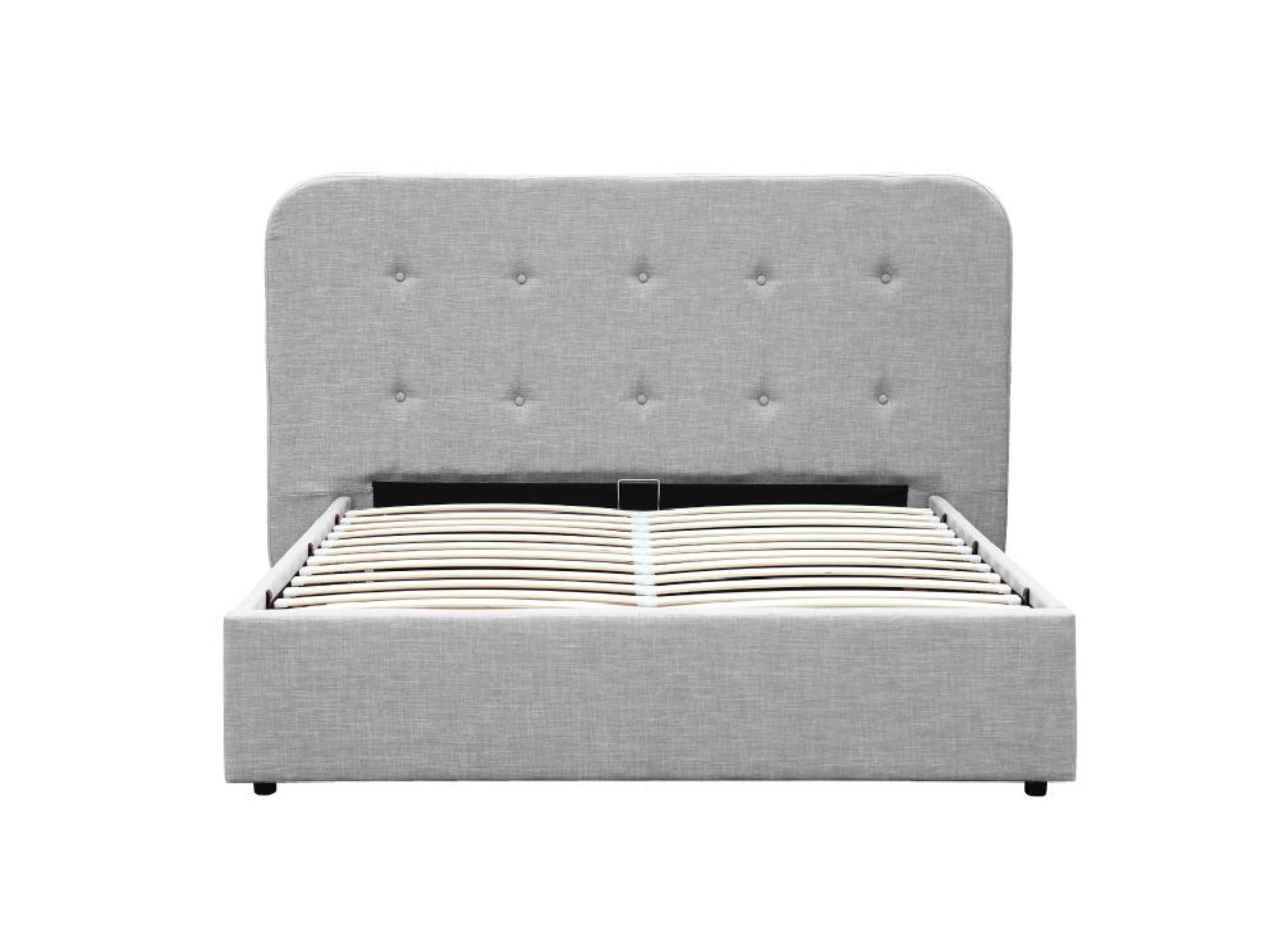 Lit coffre en tissu gris clair avec tête de lit et sommier 140x190