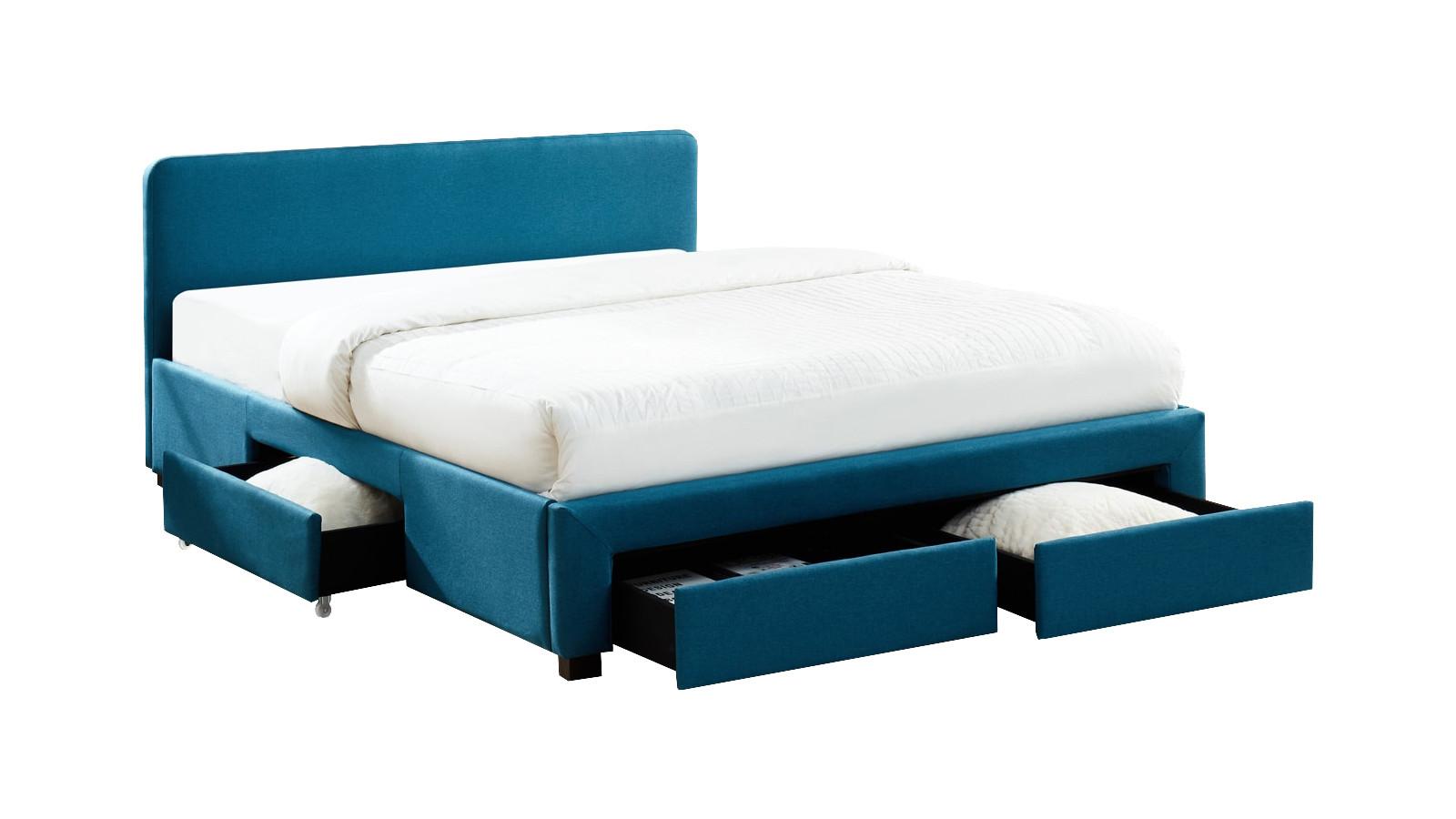 Lit à tiroirs en tissu bleu canard 160x200 avec sommier et tête de lit