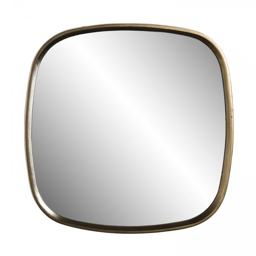 Miroir coins arrondis aluminium doré 70x70