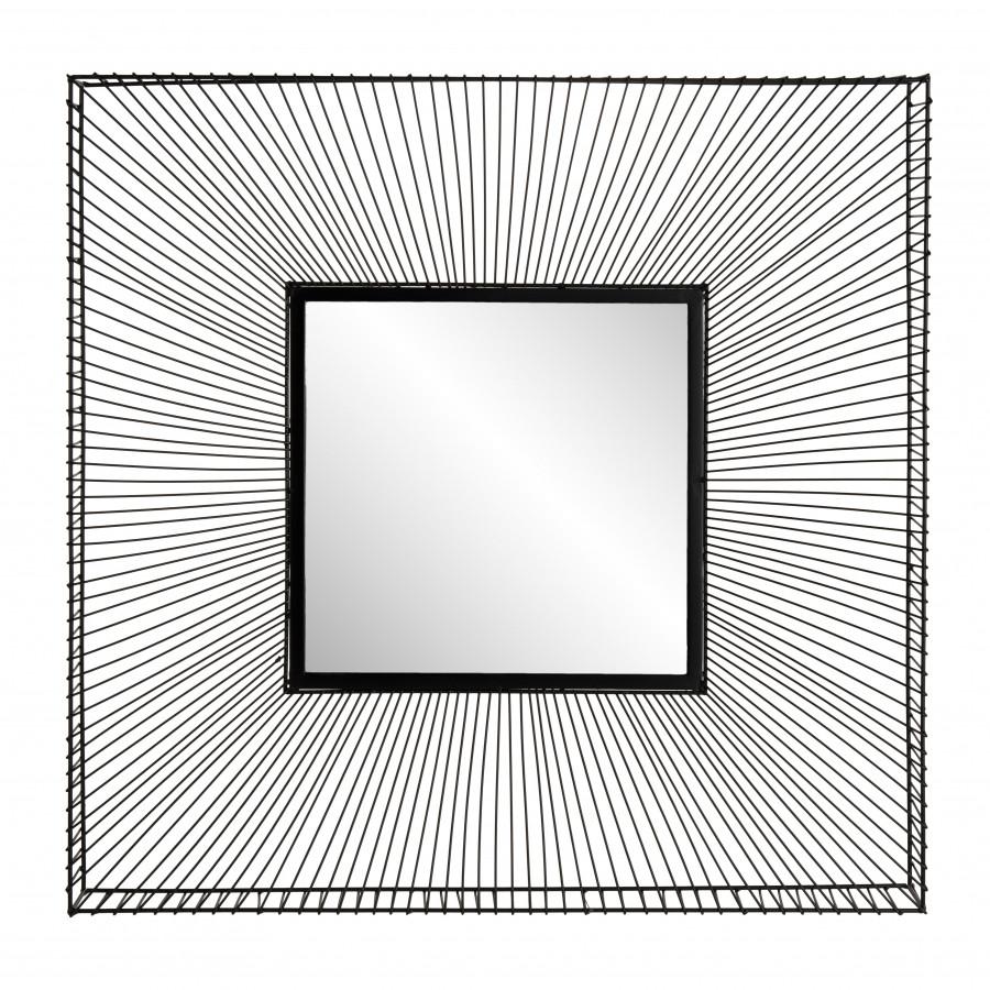 Miroir carré métal noir 90x90
