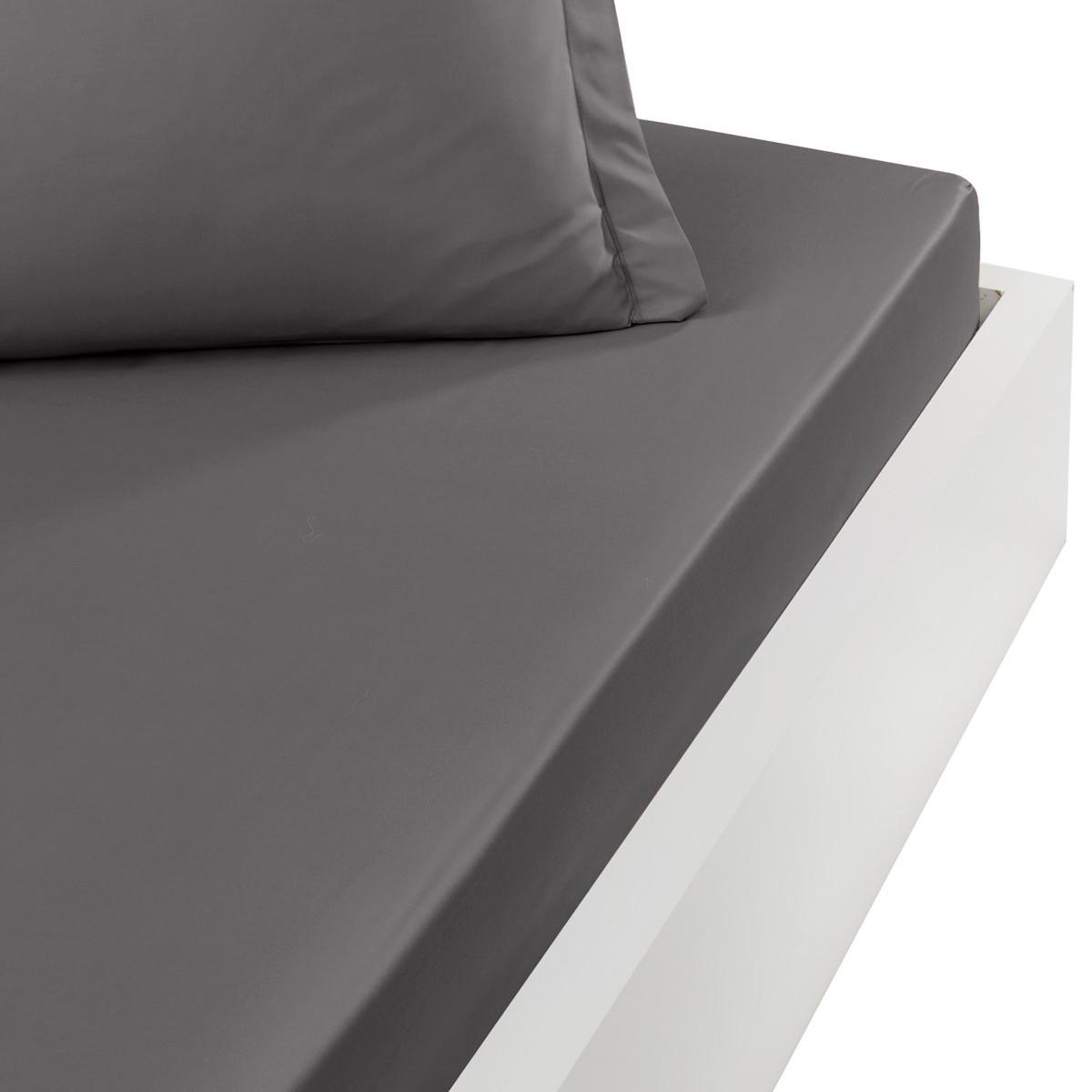 Drap housse en satin de coton bonne Gris Silver 90x190 cm