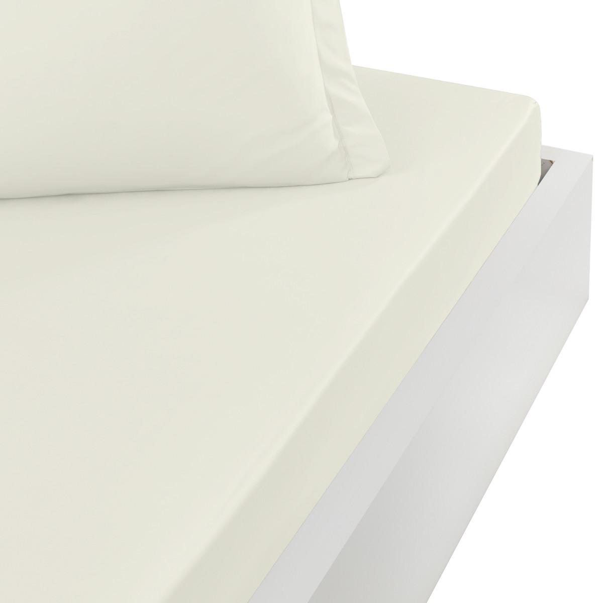 Drap housse en satin de coton bonne Ecru 140x190 cm