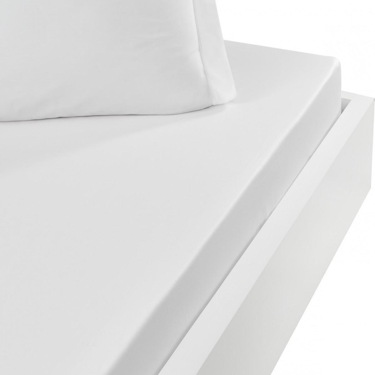 Drap housse en satin de coton bonne Blanc 160x200 cm