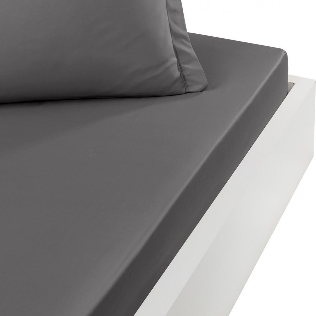 Drap housse en satin de coton bonne Gris Silver 160x200 cm