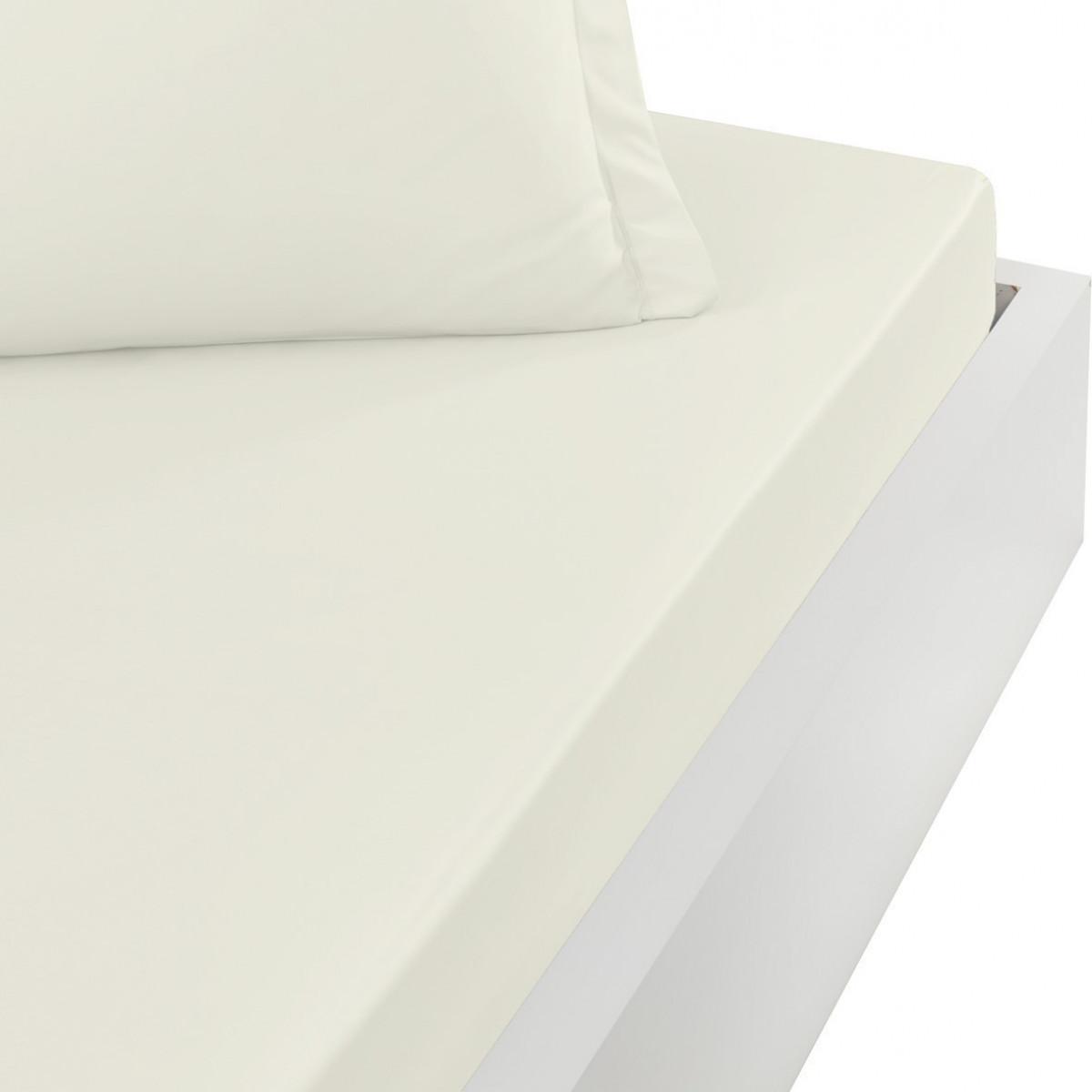 Drap housse en satin de coton bonne Ecru 160x200 cm