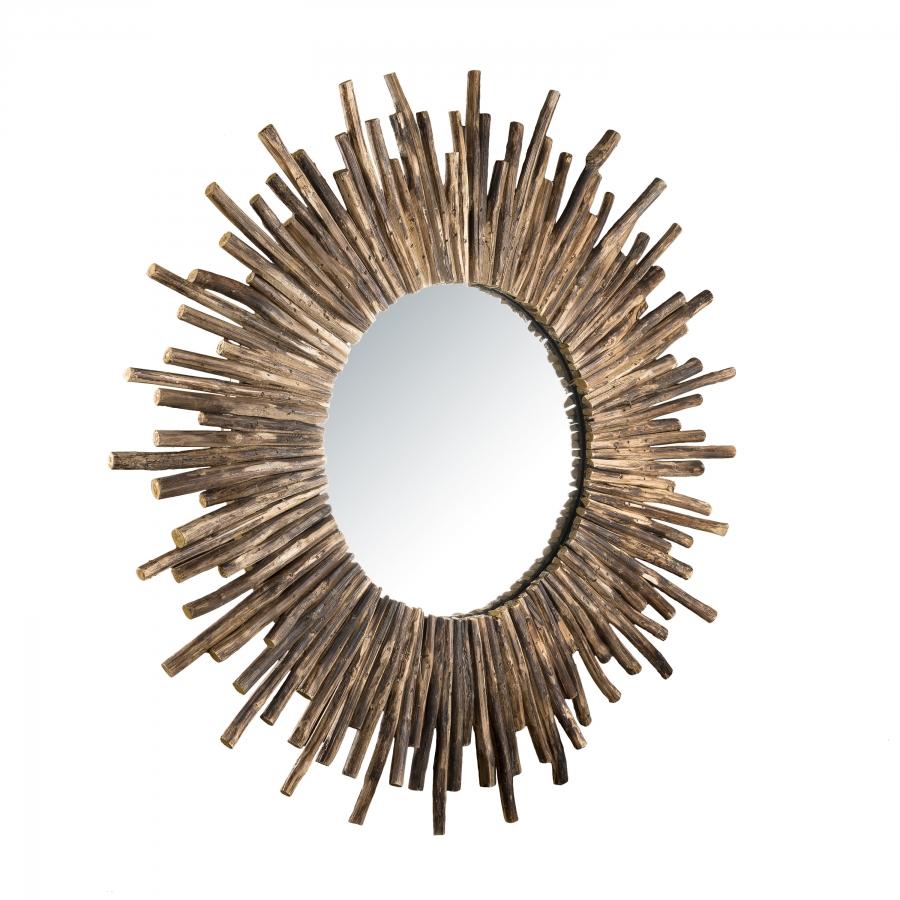 Miroir rond soleil nature branches bois D90