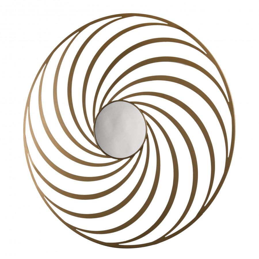 Miroir rond métal doré déco D100