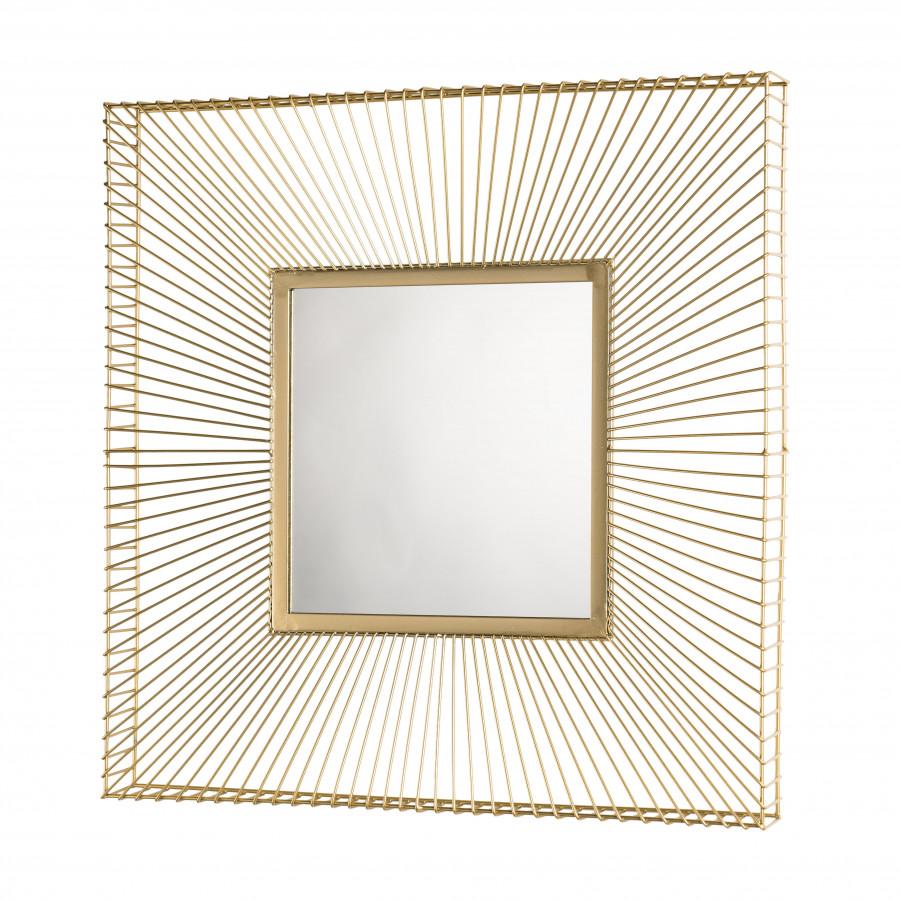 Miroir carré métal doré 65x65