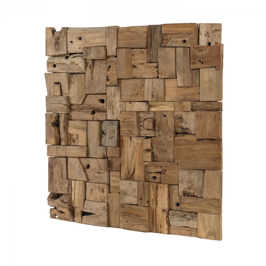 Décoration murale en bois teck 80x80