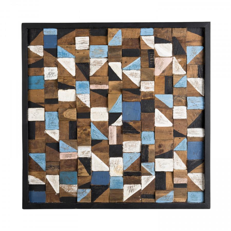 Décoration murale carrée mozaïc bois teck recyclé multicolore 73x73