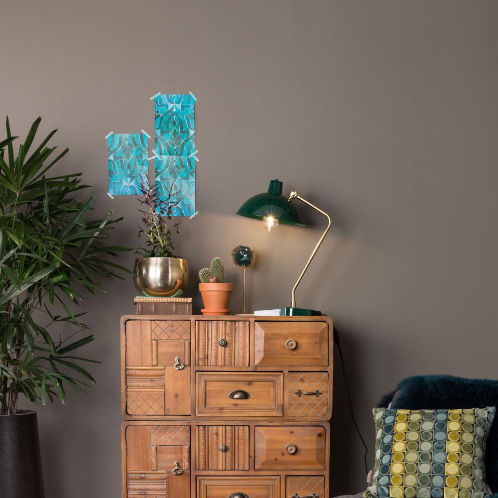 Lampe à poser vintage en métal vert
