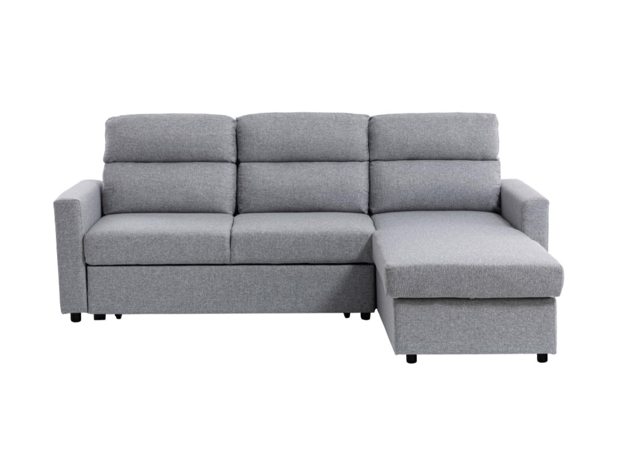 Canapé d'angle gris clair convertible avec coffre