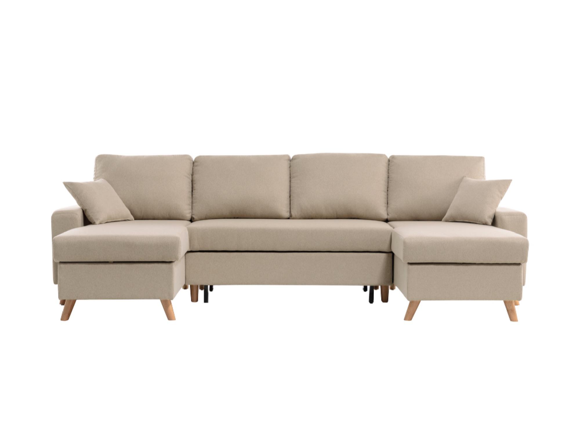 Canapé d'angle 6 places Beige Tissu Scandinave Confort
