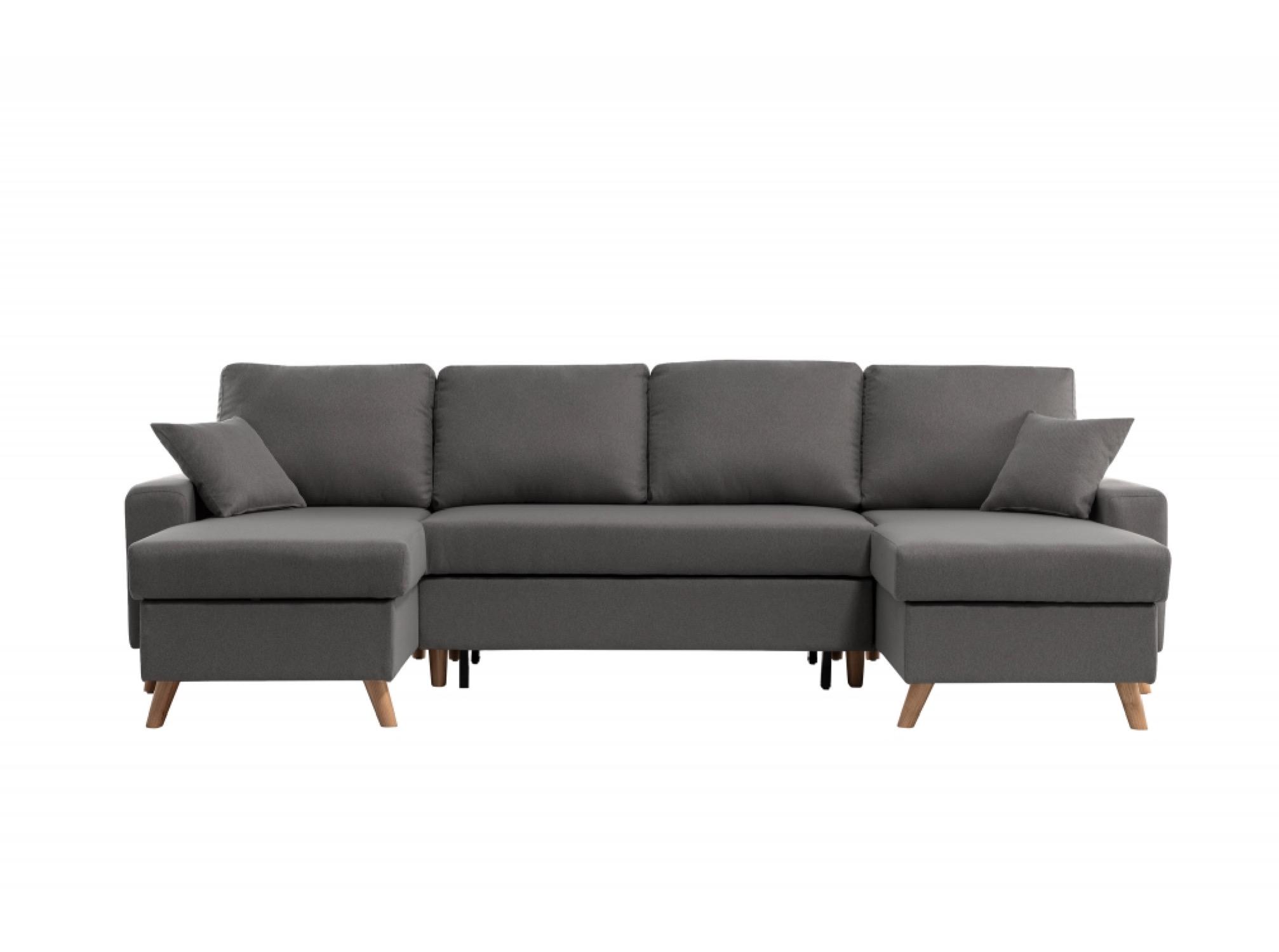 Canapé d'angle 6 places Gris Tissu Scandinave Confort